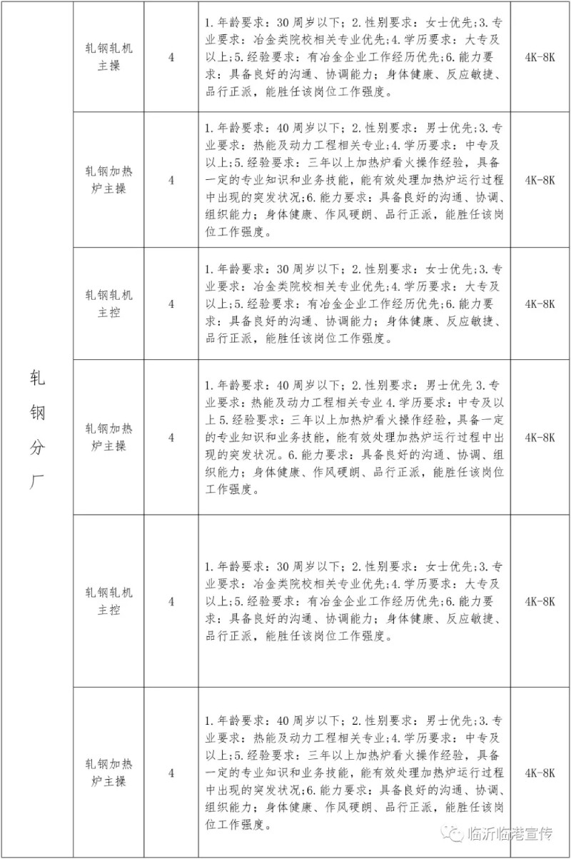 2021山东临沂临港联合钢铁招聘167人公告  第3张